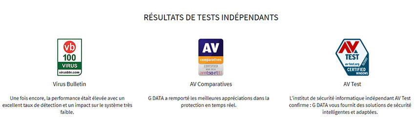 Récompense test antivirus Gdata