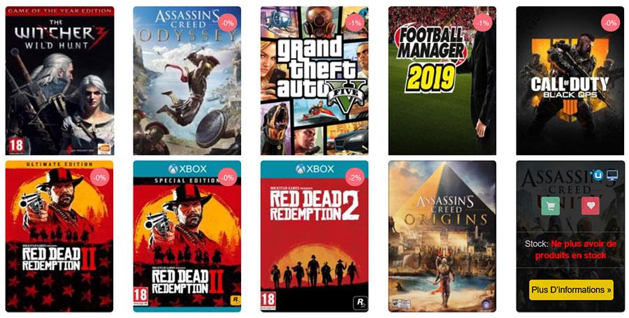 meilleure vente jeux vidéo sur la plateforme