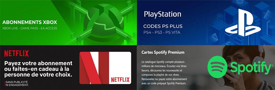 codes d'abonnements au plateforme de : jeux, films et séries télévisées