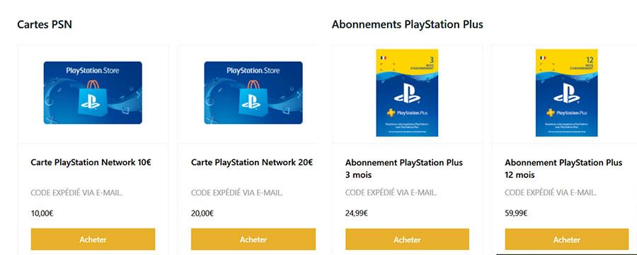 Cartes prépayées playstation téléchargement PSN