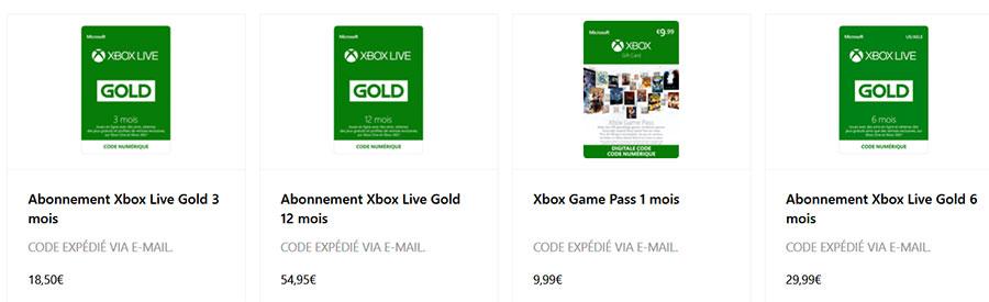 Cartes cadeaux Microsoft et Xbox