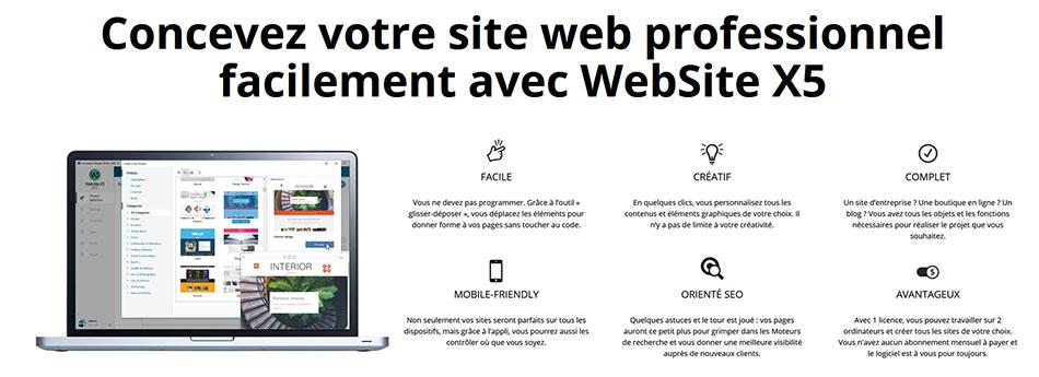 Création de site web avec WebSite X5